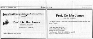 Todesanzeige-Ifor James 2004